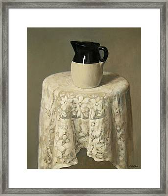 Pottery And Lace Tablecloth Framed Print by Robert Holden