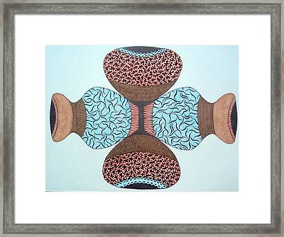 Framed Print featuring the drawing Pottery In Earthtones by Beth Akerman