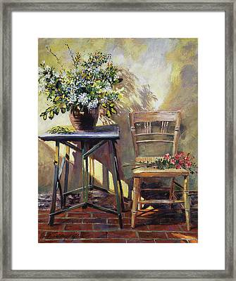 Pottery Maker's Table Framed Print