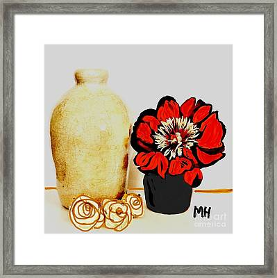 Framed Print featuring the painting Pottery Peony Roses by Marsha Heiken