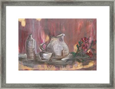 Framed Print featuring the painting Pottery by Sladjana Lazarevic