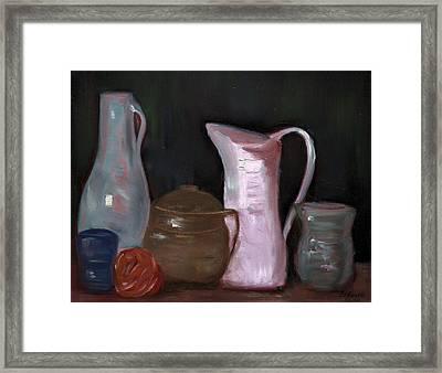 Pottery, Vases And Pitchers - Still Life Framed Print by Bernadette Krupa