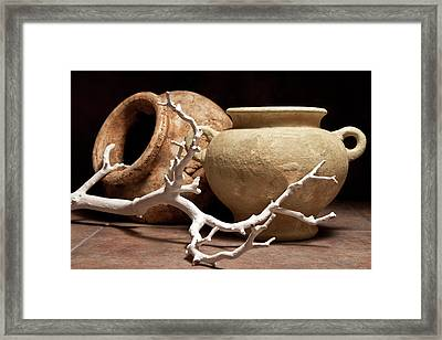 Pottery With Branch II Framed Print by Tom Mc Nemar