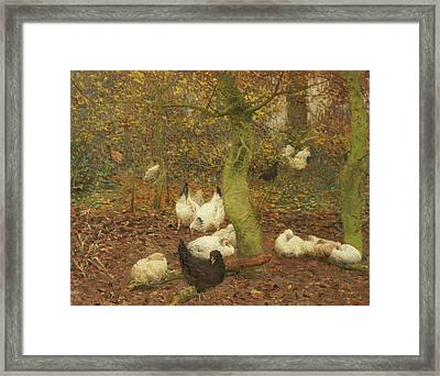 Poultry In A Wood Framed Print by Emile Claus