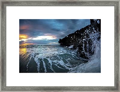 Pounding Foam Framed Print by Sean Davey