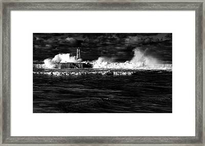 Framed Print featuring the photograph Pounding The Breakwater by Nareeta Martin
