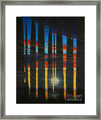 Poured Sunset On A Moonlit Night Framed Print by Don Evans