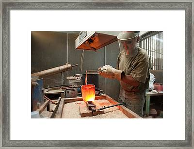 Pouring A 90oz Gold Bar-3 Framed Print