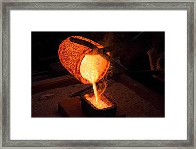 Pouring A 90oz Gold Bar Framed Print