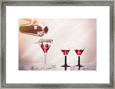 Pouring A Cocktail Framed Print by Amanda Elwell