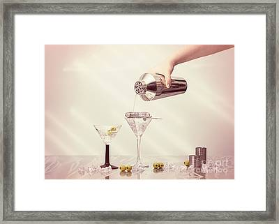 Pouring A Martini Framed Print by Amanda Elwell