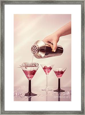 Pouring Cocktails Framed Print by Amanda Elwell