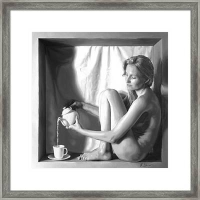 Pouring Tea Framed Print by E Gibbons