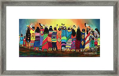 Pow Wow Blanket Dancers Framed Print by Anderson R Moore