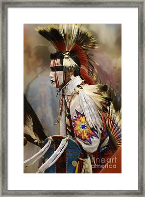 Pow Wow First Nation Dancer Framed Print by Bob Christopher
