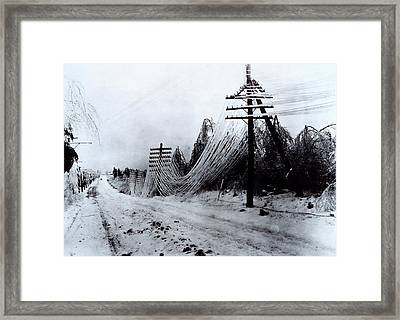 Power And Telephone Lines Sagging Framed Print
