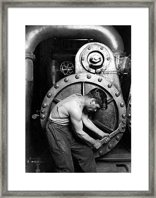 Power House Mechanic 1920 - Lewis Hine Framed Print by War Is Hell Store