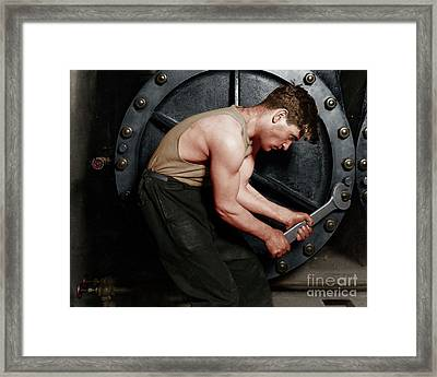 Power House Mechanic Working On Steam Pump By Lewis Hine Colorized 20170701 Horizontal Framed Print