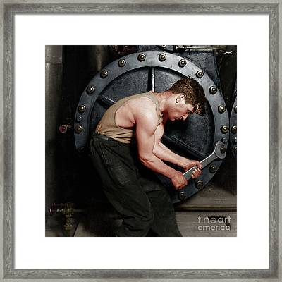 Power House Mechanic Working On Steam Pump By Lewis Hine Colorized 20170701 Square Framed Print