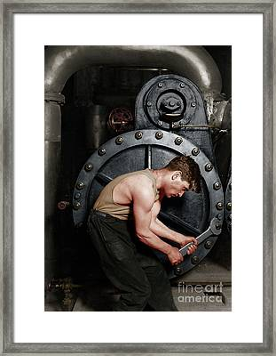 Power House Mechanic Working On Steam Pump By Lewis Hine Colorized 20170701 Framed Print