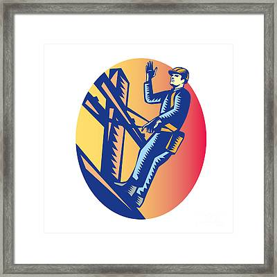 Power Lineman Electric Post Waving Oval Woodcut Framed Print