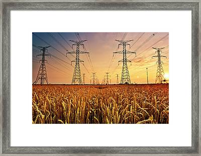 Power Lines At Sunset Framed Print by Yugus