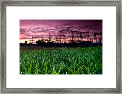 Power Lines Sunset Framed Print