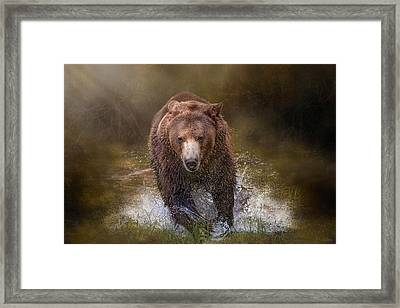 Framed Print featuring the digital art Power Of The Grizzly by Nicole Wilde