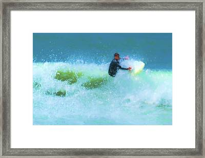 Power Through Surfing Watercolor Framed Print
