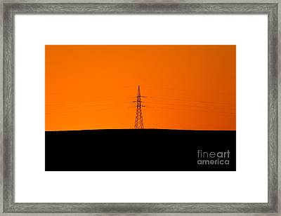 Powerline Sunset Silhouette Framed Print by Bill  Robinson