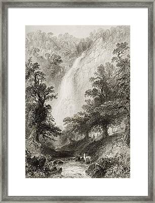 Powerscourt Fall, County Wicklow Framed Print by Vintage Design Pics