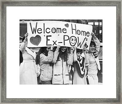 Pows Get Valentine Message Framed Print by Russ Reed
