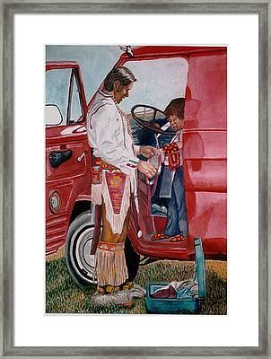 Powwow Family Framed Print by Sam Vega