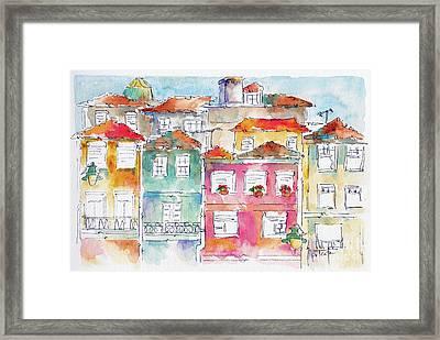 Praca Da Ribeira Porto Framed Print