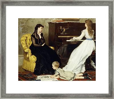 Practicing Framed Print by Gustave Leonard de Jonghe