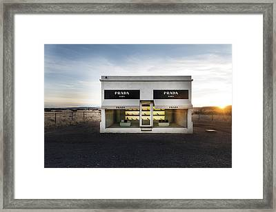 Prada Marfa Is A Permanently Installed Sculpture By Elmgreen And Dragset Near The Town Of Valentine Framed Print