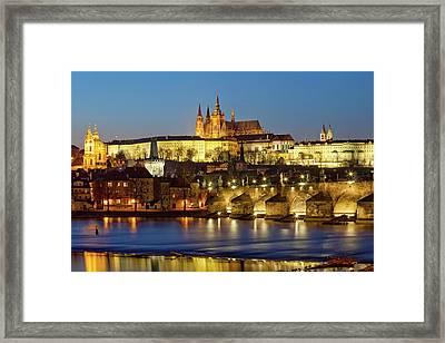 Prague - Charles Bridge And Hradcany Castle Framed Print by Frank Chmura