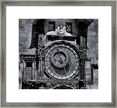 Prague Astronomical Clock 2 Bw Framed Print by C H Apperson