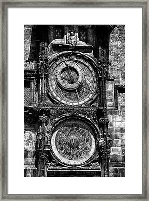 Prague Astronomical Clock Bw Framed Print