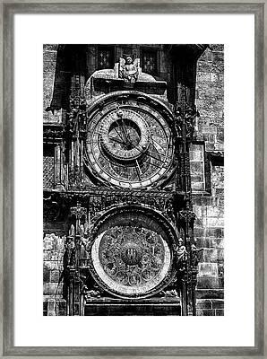 Prague Astronomical Clock Bw Framed Print by C H Apperson