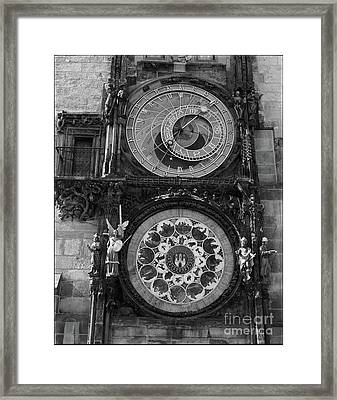 Prague Astronomical Clock In B/w Framed Print