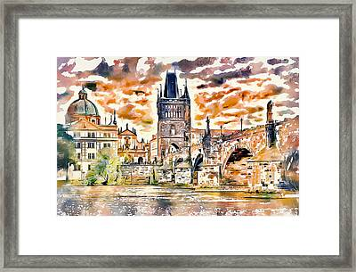 Prague Bridge 2 Framed Print by Yury Malkov