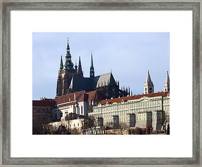 Prague Castle And St. Vitus Cathedral Framed Print by Miroslav Nemecek