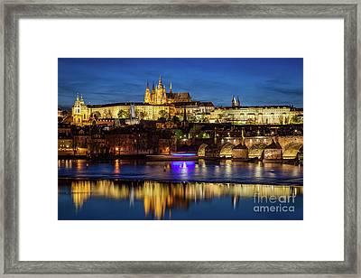 Prague Castle, Hradcany Reflecting In Vltava River In Prague, Czech Republic At Night Framed Print by Michal Bednarek