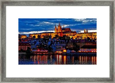 Prague Castle In The Evening Framed Print