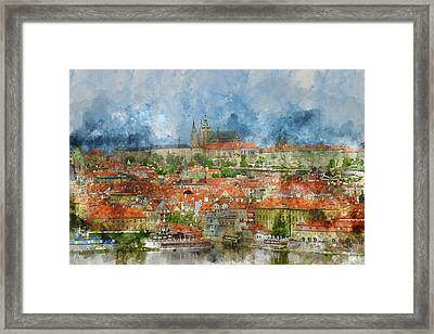 Prague Castle With Famous Charles Bridge In Czech Republic Framed Print by Brandon Bourdages