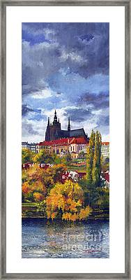 Prague Castle With The Vltava River Framed Print by Yuriy  Shevchuk