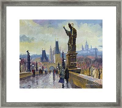 Prague Charles Bridge 04 Framed Print by Yuriy  Shevchuk