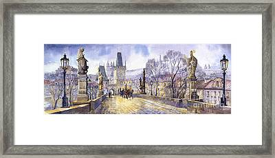 Prague Charles Bridge Mala Strana  Framed Print by Yuriy  Shevchuk