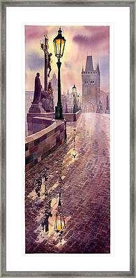 Prague Charles Bridge Night Light Framed Print by Yuriy  Shevchuk
